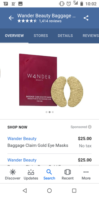 WANDER GOLD EYE MASK (READ ALL) 2019 award winning product!