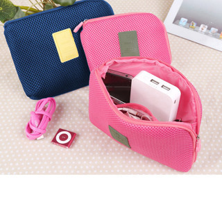 Travel Storage Box For Digital Data Cable Charger Headphone Portable Sponge Mesh