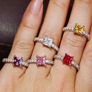 [GIN FOR FREE SHIPPING] Princess Cut Moissanite Diamond Engagement Ring Natural Gemstone
