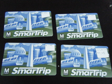 four D.C. subway cards (SmarTrip cards)