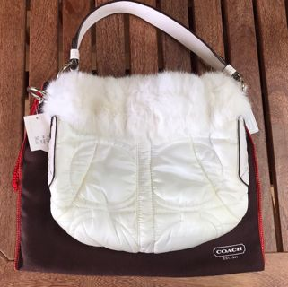 *RARE* NWT COACH Hobo Quilted Sateen Ski White Rabbit Fur Purse Bag w/Silver Hardware ($348)