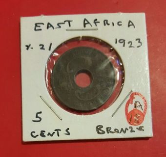 Vintage 1923 East Africa 5 Cent Coin