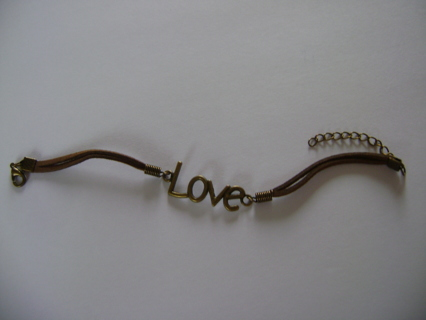 Leather Strap Bracelet with Love