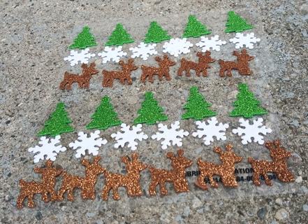 CHRISTMAS GLITTER FOAM RUBBER STICKERS LOT 3