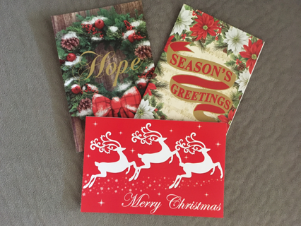 GROUP OF 3 CHRISTMAS CARDS WITH ENVELOPES AND ALL 3 HAVE INSIDE VERSES