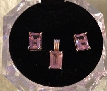 .925 Amethyst Earrings and Charm