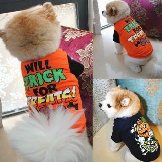 [GIN FOR FREE SHIPPING] Halloween Puppy Pet Dog Vest Small Cat Summer T-shirt