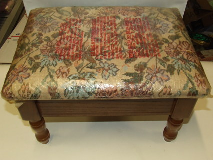 Fl Tapestry Storage Foot Stool Cushion Top Wood Footstool Furniture