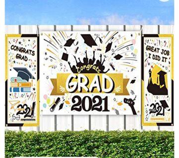 Graduation Decorations Banners for Class of 2021-3 Large Graduation Banners,