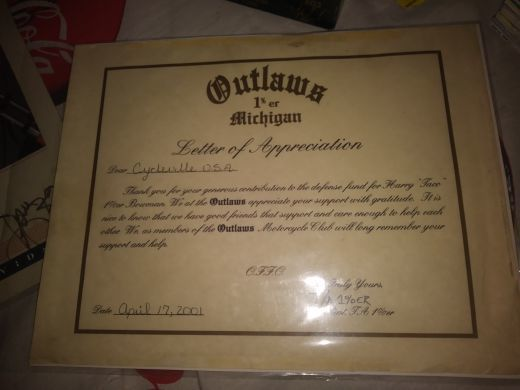 Free: Vintage 1%er outlaws mc certificate of appreciation to