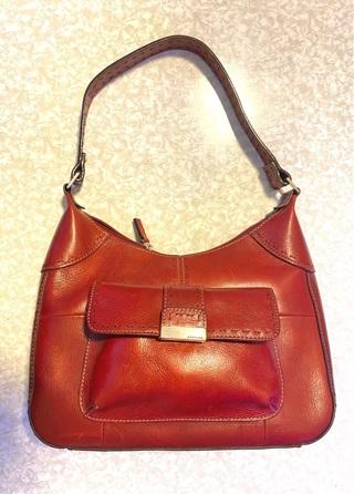 Vintage  Fossil 1954 Handbag Bag  Red Leather  Shoulder Satchel