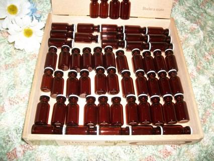 ~~ Perfect Unique Storage Box & 57 Glass Vials/bottles ~~