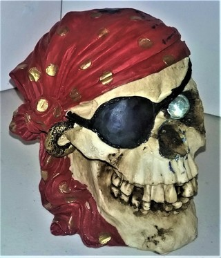 "Heavy (13 oz.) strong ceramic pirate skull bank - 6"" X 4"" X 4 1/2"" with patch & bandanna"