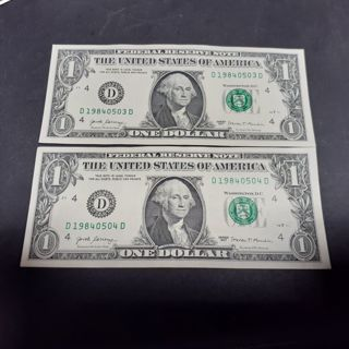 2 Uncirculated notes- $1 US currency Birthday Serial #'s 1984/05/03. - 1984/05/04