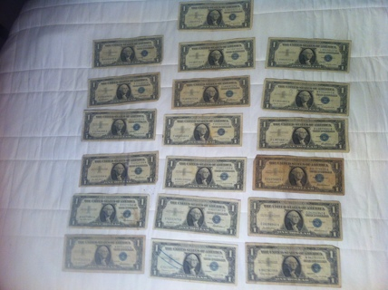 Lot of 19 1957 1$ Silver Certificates One Dollar Bill 19$ Face Value, Rare Find Dont Miss Out!