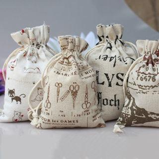 10PCs Burlap Jute Hessian Wedding Favor Gift Bag Drawstring Pouch Sack