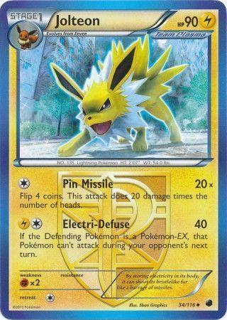 POKEMON TCG! - Jolteon 34/116 - Uncommon Black & White 9: Plasma Freeze Pokemon Cards Singles