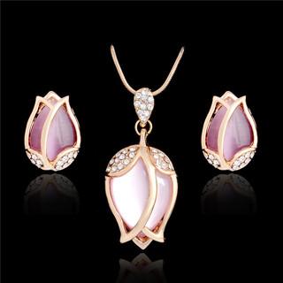 2017 Fashion Jewelry Sets Parure Bijoux Femme Pink Natural Stone Opal Tulip Flowers Jewelry