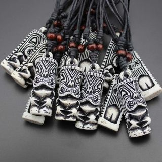 Carved Adjustable White Fashion TIKI Tribal NEW Pendant Necklace Totem