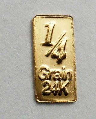 1/60th gram GOLD 24k with a SINGLE ROSE 999 FINE PURE GOLD bullion bar A9
