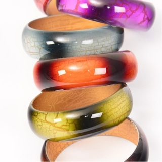 6 Pack Crackle Bangle Bracelet Lot