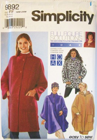 Free Plus Size Winter Coat Poncho Sewing Pattern Sewing