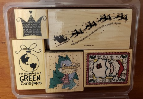 NEW - Christmas Theme Mounted Rubber Stamps - set of 5