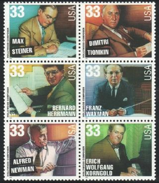 SC 33c #3339-44 HOLLYWOOD COMPOSERS BLOCK OF 6 1999 MNH XF