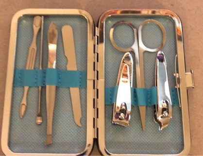 Brand New: Light Blue 7 Pc Stainless Steel, Lightweight Mani/Pedi Kit!! For Women Men