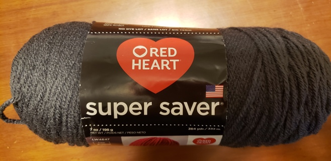 """NEW - Red Heart Super Saver Yarn - """"Charcoal"""""""