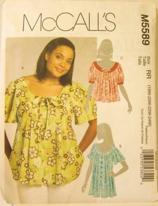 Free: ***McCall\'s Plus-Size Women\'s Blouse Sewing Pattern*** #M5589 ...