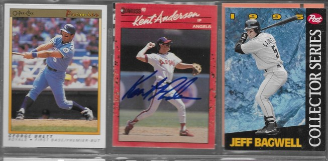Kent Anderson Autograph Card & Not Signed George Brett & 1995 Post Collector Series