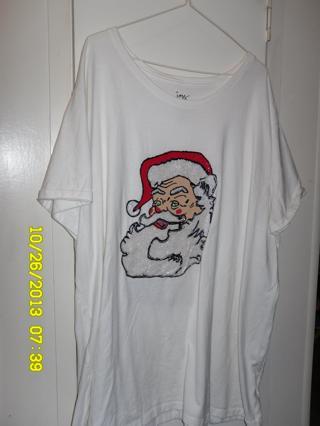New Hand Painted Santa tshirt, sz. 5XL