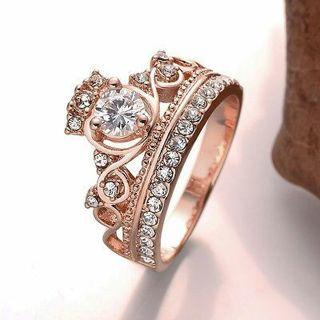 Pop Women Stylish Simple Jewelry Rose Gold Plating Crown AAA Zircon Finger Ring