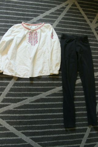 Girls Outfit Size 10 OshKosh B'Gosh Long Sleeve Cotton Blend Top & Black Pants.
