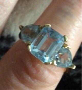 10k real gold 3 stone topaz ring