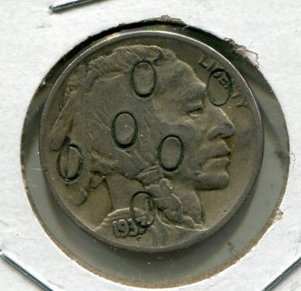 1937D Buffalo Nickel-Counter Stamped with 0's!!