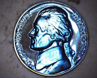 1962 blue / purple very tone proof jefferson nickel