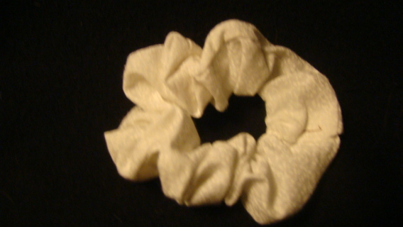 white w/small flowers hand made scrungie
