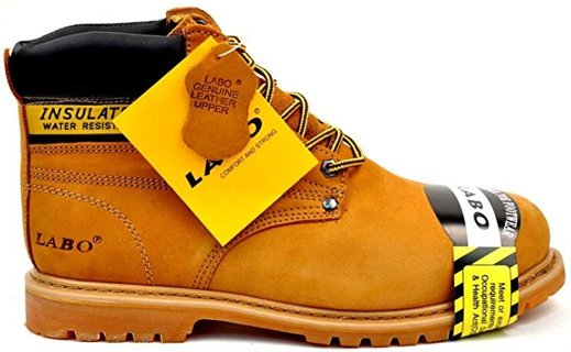 ~ BN - TAN Genuine Leather Steel Toe Shoe Work Boots - SPECIAL FOR A VETERAN ~
