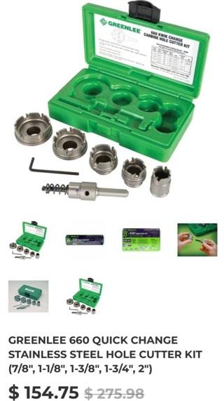 Greenlee 660 Quick change Carbide Hole Cutter Kit
