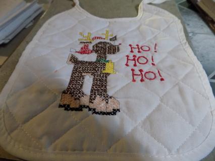 hand made cross stitched Reindeer HO Ho Ho bib