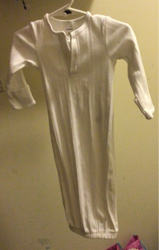 White carters gown for a boy