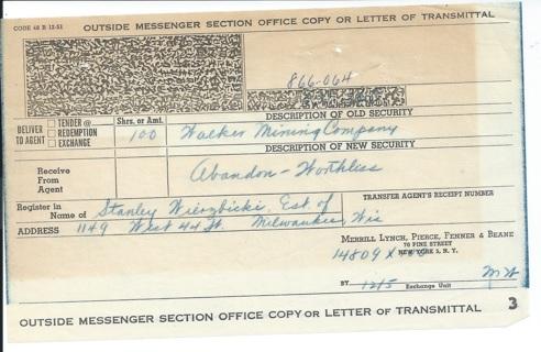 Stock Letter of Transmittal 1950s Walker Mining Co. is Abandon - Worthless
