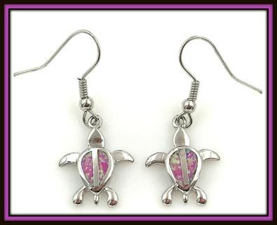 Sterling Silver Australian Pink Fire Opal Gemstone Turtle Tortoise Pierced Earrings, Brand NEW!