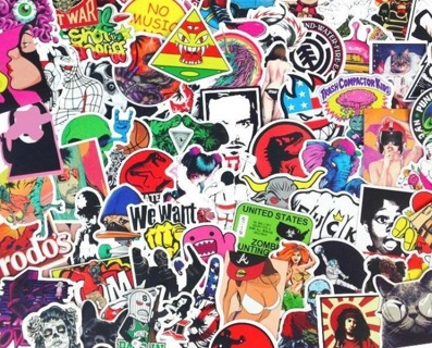 NEW (8)Luck of The Draw*eight Random ADULT Stickers Blue Comedy Pop Culture Art Music Movies Fashion