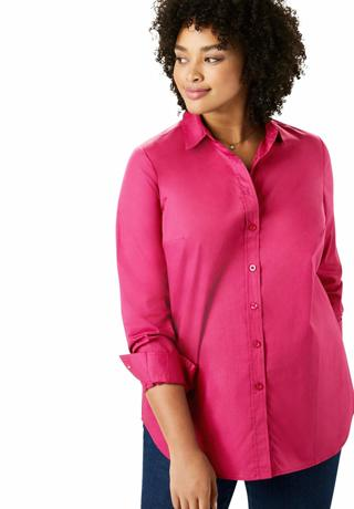Woman Within Women's Plus Size Perfect Long-Sleeve Button Down Shirt Size 5X
