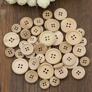 [GIN FOR FREE SHIPPING] 50 PCs Mixed Wooden Buttons Natural Color Round 4-Holes Sewing