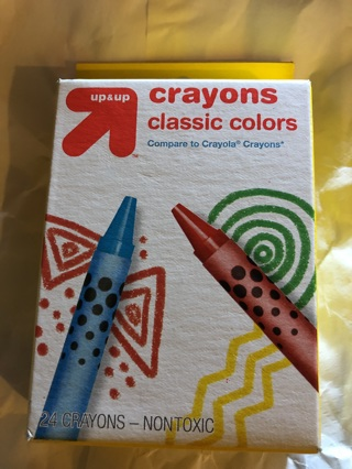 Brand New Box of Colorful Up and Up Crayons. 24 Crayons. Non Toxic