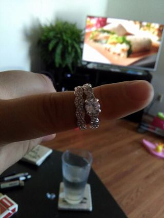 2ps sterling silver plated beautiful ring size 7 nwot